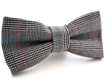 Mens Black and White Bowtie, Houndstooth Bow Tie, Checkered Bow Tie, Gingham Bow Tie, Plaid Bow Tie