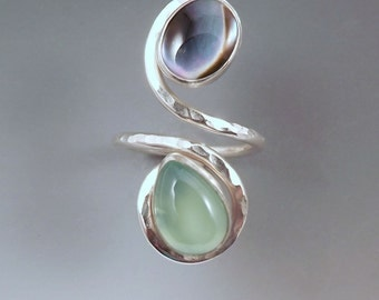 Abalone and Aqua Chalcedony- Moon on the Water- Seafoam- Hammered Sterling Silver Swirl- Adjustable Ring