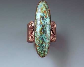 Turquoise and Copper- Rich Swirl Patina- Unique Color- Turquoise Statement Ring
