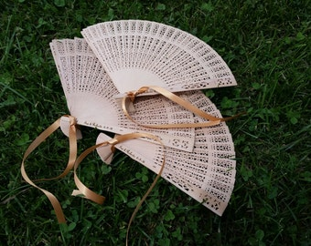 Rustic Wedding Favors Wood Lace Asian Fans Personalized Hand