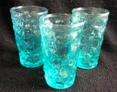 3 Turquoise Blue Juice size Drinking Glasses. Glassware.  Mid century modern, Danish Modern, Eames era.  Vintage 1960's.