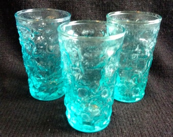 3 Turquoise Blue Juice size Drinking Glasses. Glassware.  Mid century modern, Danish Modern, Eames era.  Vintage 1960's.