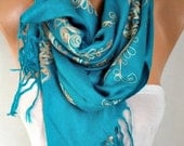 Teal Embroidered Scarf,Fall Winter Shawl, Oversized, Bridesmaid, Bridal Accessories, Gift Ideas For Her, Women Fashion Accesssories