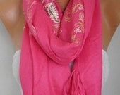 Hot Pink Embroidered Scarf,Fall Winter Shawl, Oversized, Bridesmaid, Bridal Accessories, Gift Ideas For Her, Women Fashion Accesssories