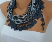 Grey Leopart Print  Cotton Scarf Christmas Gift Floral Shawl Cowl Gift Ideas For Her Women Fashion Accessories best selling item