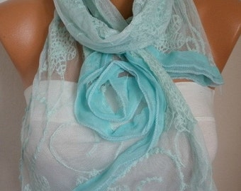 Mint Lace Scarf Christmas Gift Shawl Cowl Scarf Bridal Accessories bridesmaid gift Gift Ideas For Her Women's Fashion Accessories Scarves