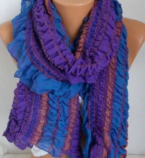 Purple & Blue Ruffle Cotton Scarf, wrinkle Scarf,Bohemian Scarf Birthday Gift,Gift Ideas For Her Women's Fashion Accessories best selling