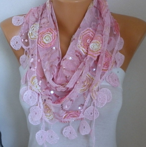 Pink Sequin Tulle Scarf, Wedding Scarf,Cowl Scarf,Bridesmaid Gift,Lace Scarf,Gift Ideas For Her,Women Fashion Accessories - fatwoman