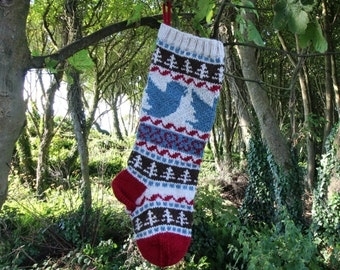 Knit Christmas Stocking with blue birds Xmas Handknit Stocking Fair Isle Santa Sock (Ready to Ship) LBrR