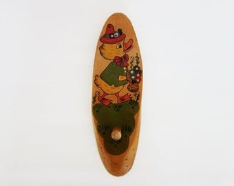 Vintage Wooden Hook Hanger Coat Peg with Hand Painted Duck for Kids