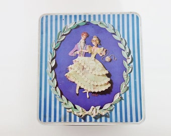Vintage Tin Box with Lovers Picture and Blue Stripes