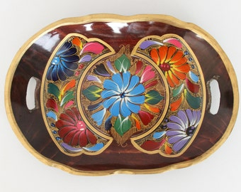 Mexican Folk Art Painted Wood Tray - Hand Carved Decorative Wooden Tray with Colorful Flowers and Gold Detailing