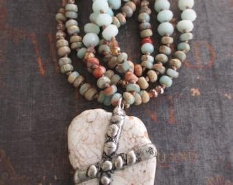 Knotted beachy stone necklace - Surf and Sand - artisan cross stone sky blue tan neutral earthy boho by slashKnots slash knots