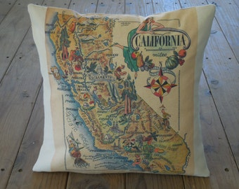 Vintage California Map Pillow, Travel, Geography, CA, INSERT INCLUDED