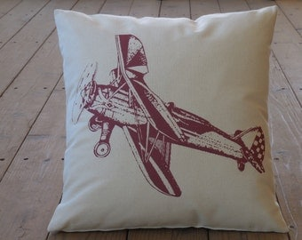 Vintage burgandy airplane Pillow, Nursery, Shabby Chic, INSERT INCLUDED
