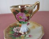 Pretty Demitasse Cup and Saucer // Flowers // Made in Japan