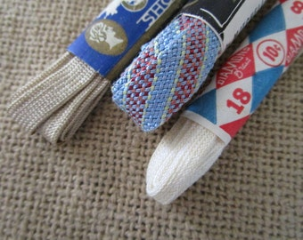 Vintage Shoelaces Three (3) Pairs of New Old Stock Vintage Shoelaces Shoe Accessories Spiffy Shoe Laces