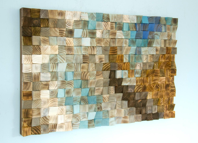 Wood Wall Art Mosaic, Office Wall Decor, Geometric Art, 24 X 36 Fighting  River