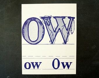 "Vintage Letters ""OW"" Flashcard / Phonics Card, 7"" tall (c.1958) - Collectible, Altered Art Ephemera, Home Decor, and more"