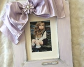 Photo Frame Bow Jewel Shabby Lavender Flower Bling Baby Girl Decor Name Personalize Purple