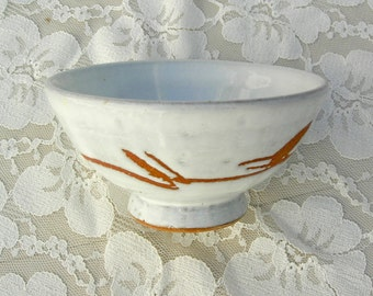 Japanese Rice Bowl, Shino white glaze, hand-crafted, purchased in Japan