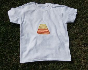 Girls T-Shirt/Fall Shirt/October/November/Candy Corn Embroidered T-Shirt