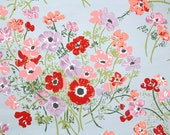 Vintage Wallpaper by the Yard 70s Retro Wallpaper - 1970s Floral Red Pink and Purple Poppies on Blue