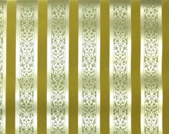 Retro Flock Wallpaper by the Yard 70s Vintage Flock Wallpaper - 1970s Metallic Gold and Flock Stripe with Green Damask
