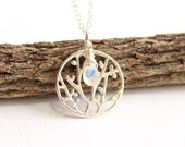 Sterling Silver Woodland Branch and Birthstone Pendant Necklace... Choose Your Stone