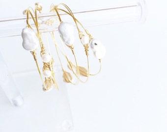 Freshwater Pearl Bangle Set, Pearl Bangles, Pearl Bracelets, Wire Bangles, Stocking Stuffer for Women, Stocking Stuffer for Her, Gussied