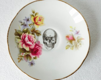 Black Skull Cake Saucer Pink Rose Gold and White Vintage Bone China Made in England Tea Party Wedding Ring Dish Anniversary Jewellery Gift