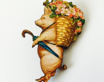 Pig in Clothes Carrying Flowers Brooch Animal like a Human Birthday Wooden Pin Birthday Gift for Stocking Filler Stuffer Jewellery Pin