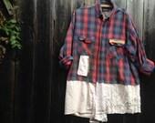 RESERVED Shannon CUSTOM flannel plaid crochet vintage lace boho rustic prairie barn country shabby winter fashion shirt