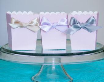Light Pink Party Favor Boxes with Satin Ribbon, You Choose Ribbon Color, Goody Boxes, Baby Shower, Birthday Party Favors, Party, 12 CT