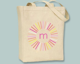 Starburst Monogram initial on Canvas Tote -- Selection of  sizes available