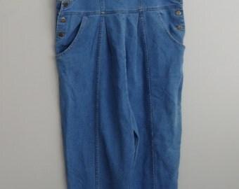 vintage denim Jean Maternity overalls / Tapered skinny leg empire waist / distressed denim jean Bib overalls