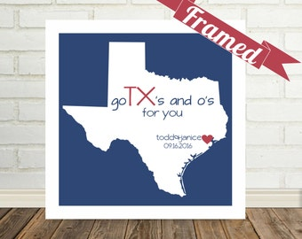TEXAS Map Print, Personalized Wedding Gift, Framed State Map, Texas Art, Texas Wedding Gift, Engagement Gift, Valentines Day Gift