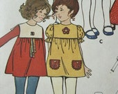 Vintage Butterick Girl Child Mini Dress Pants and Duster Hat 6032 Sewing Pattern Mary Quant Style Size 5