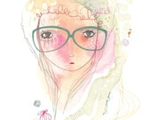 Glasses girl print, glasses painting art, girl illustration, pink and green
