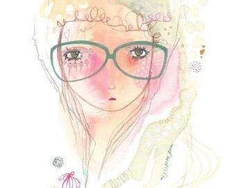 Glasses girl print, glasses painting art, girl illustration, pink and green