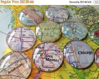 "ON SALE Large Glass Fridge Magnets 1.2"" World Maps (set of 12 large glass cabochons)"