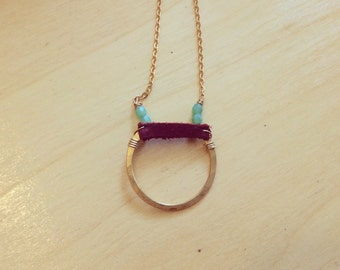 Boho leather and gold brass necklace