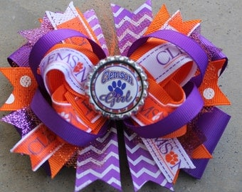 CLEMSON HAIRBOW Boutique Style Clemson Tigers Bow with Tulle Chevron Clemson Ribbon