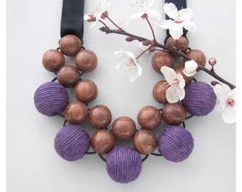 Wooden Bead Necklace / Chunky Necklace / Wooden Necklace / Bayong Wood Purple Fabric Beads Necklace / Bib Necklace / Statement Necklace