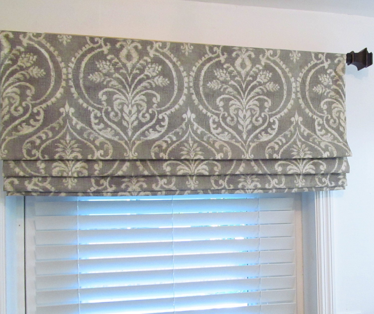 Faux Roman Shade Gray Ivory Damask Mock Roman Valance Fake