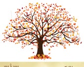Clip art Fall Tree, Autumn Tree Graphic, Tree with orange yellow red leaves, Large Family Tree, Graphics Trees, Wedding Invitation Graphic