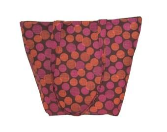 Polka Dot Tote Bag, Brown Fabric Bag, Handmade Handbag, Cloth Purse, Pink Orange Polkadots, Shoulder Bag, Gift for Her