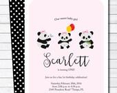 Girly Panda 1st Birthday Party Digital Invitation