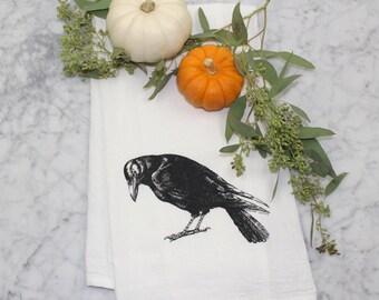 Flour Sack Tea Towel-Crow Cotton Flour Sack Towel-Hand Screen Printed Kitchen Towel-Eco Friendly Dish Towel-Crow Decor-Halloween Decor