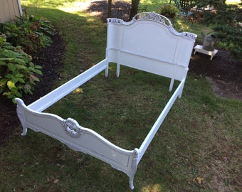 Antique Full Size White Bed - Shabby Chic Bed - Painted Furniture #1